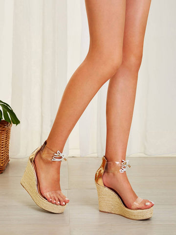 Ankle Strap High Heel Open Toe Lace-up Front Espadrille Wedges