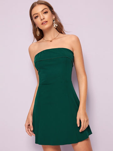 Green Sleeveless Strapless Solid Foldover Tube Dress