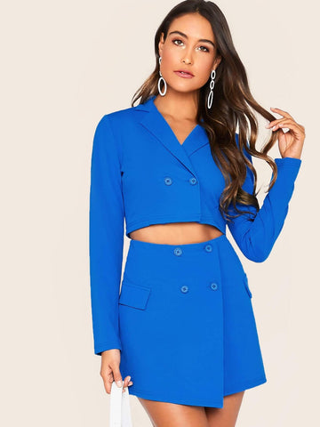 Blue Notch Collar Button Fly Crop Top & Flap Detail Wrap Skirt Set