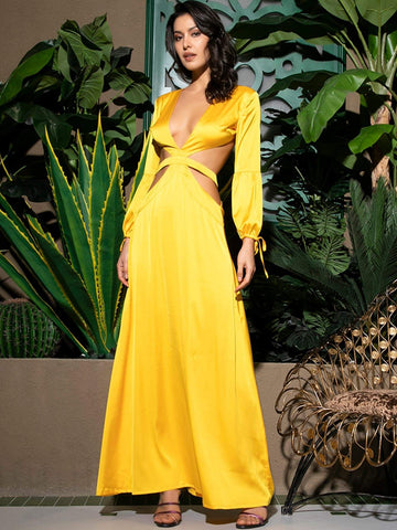 Yellow Bishop Sleeve Plunge Neck Backless Satin Maxi Dress