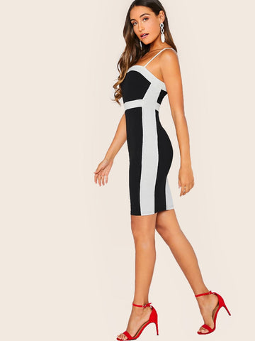 Black and White Spaghetti Strap Colorblock Panel Bodycon Sleeveless Mini Dress