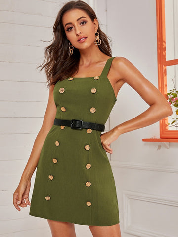 Army Green Spaghetti Strap Sleeveless Double-breasted Belted Cami Dress