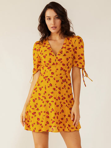 Yellow V-Neck Ditsy Floral Knotted Cuff Dress