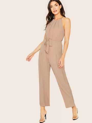 Backless Belted Sleeveless Halter Neck Waist Tie Jumpsuit