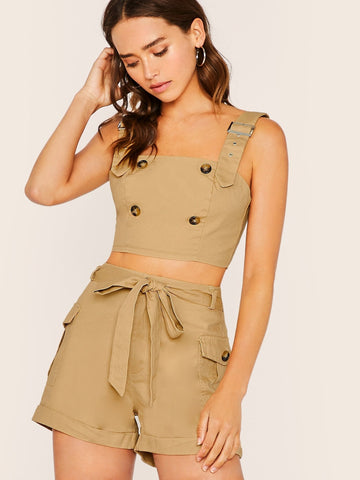 Buckle Detail Sleeveless Crop Top And Cargo Shorts