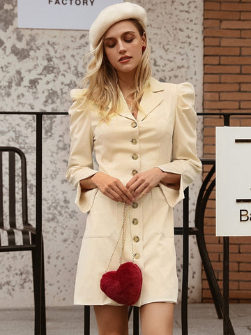 Pastel Beige Notched Collar Single Breasted Split Puff Sleeve Blazer Dress