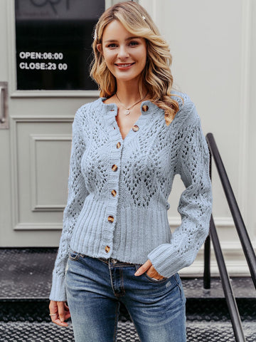 Pastel Blue Solid Button Front Cut-out Sweater Cardigan