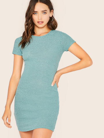 Pastel Green Round Neck Rib-knit Fitted Dress