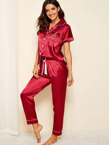 Burgundy Notched Neckline Heart Embroidered Satin Pajama Set Sleepwear