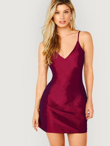 Burgundy Spaghetti Strap V-Neck Round Hem Sleeveless Dress