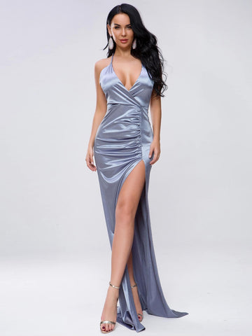 Pastel Blue Sleeveless Split Thigh Ruched Satin Maxi Halter Dress