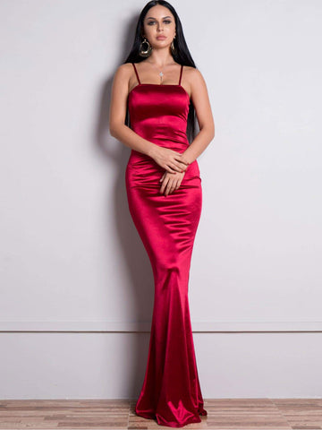 Burgundy Sleeveless Spaghetti Strap Zip Back Floor Length Satin Slip Dress
