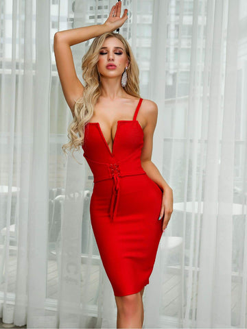 Bright Red Sleeveless Spaghetti Strap Lace Up Front V-bar Bandage Cami Dress