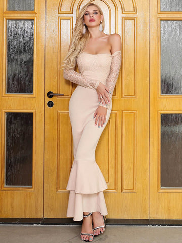 Pastel Beige Off Shoulder Lace Insert Layered Fishtail Hem Dress
