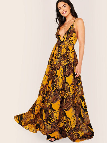 Backless V-Neck Abstract Floral Print Sleeveless Maxi Dress