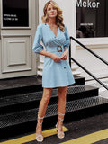 Pastel Blue Three Quarter Sleeve Button Front Surplice Neck Ring Belt Dress