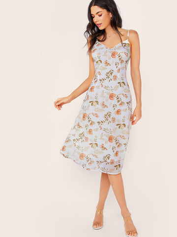 Pastel Blue V-Neck Sleeveless Floral Print Slip Dress