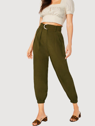 Army Green Belted Waist Jogger Pants