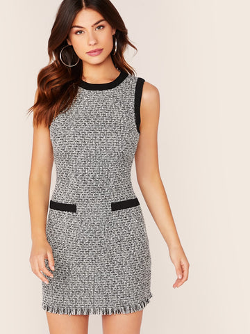 Black and White Round Neck Sleeveless Raw Hem Pocket Patch Tweed Bodycon Dress