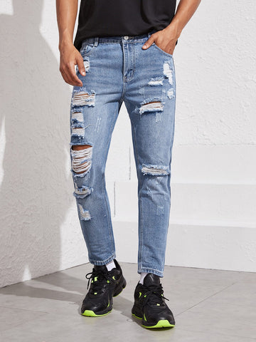 Blue Mid Waist Relaxed Washed Ripped Jeans