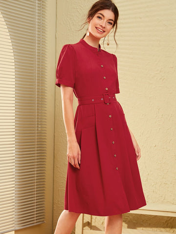 Burgundy Stand Collar Button Front Pocket Detail Belted Shirt Dress