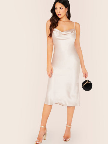 White Sleeveless Cowl Neck Satin Midi Slip Dress