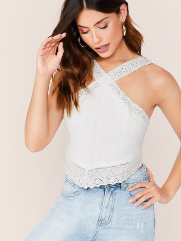 White Criss Cross Embroidered Eyelet Lace Trim Sleeveless Top