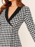 Black and White Slim Fit Shawl Collar Wrap Button Front Plaid Blazer Dress
