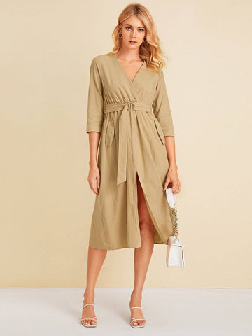Pastel Khaki V-Neck Solid Split Thigh Slant Pocket Belted Dress