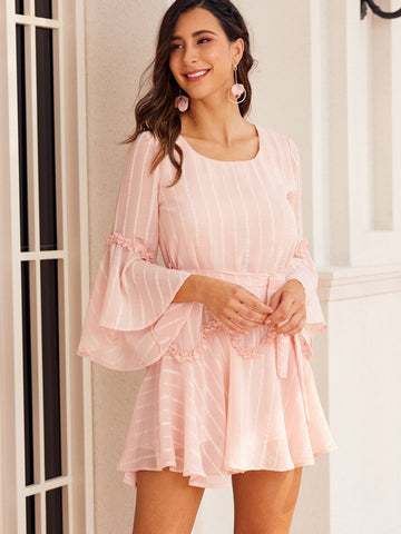 Pastel Pink Round Neck Striped Flounce Sleeve Belted Dress