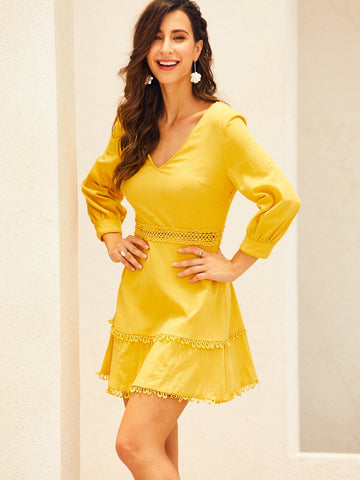 Yellow Three Quarter Sleeve Solid Lace Trim V-Neck Dress