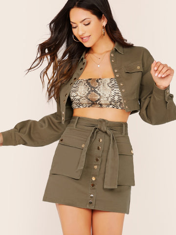 Army Green Button Front Crop Denim Jacket And Mini Skirt Set