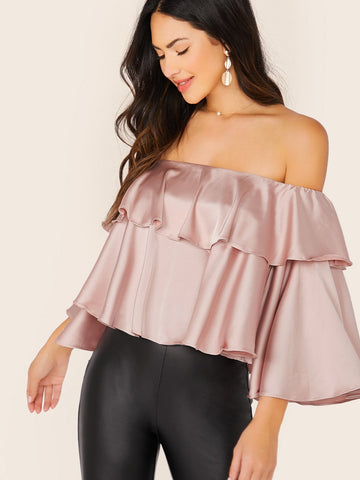 Pastel Pink Off Shoulder Ruffle Trim Flounce Sleeve Bardot Satin Top