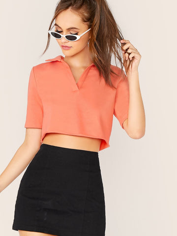 Pastel Orange Notched Collar Collared Solid Top