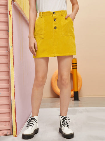 Yellow High Waist Button Front Side Pocket Corduroy Skirt