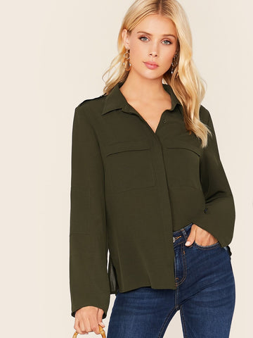 Army Green Flap Pocket Patched Front Split Side Shirt