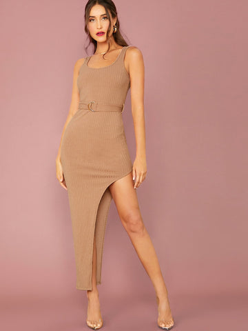 Pastel Camel Scoop Neck Rib-knit Asymmetrical Hem Slim Fit Tank Dress