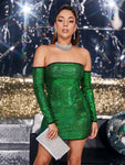 Bright Green Off Shoulder Bodycon Sequin Slim Fit Mini Dress