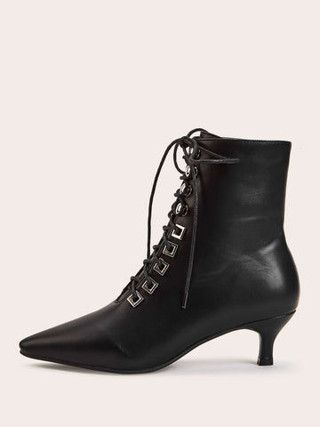 Black Point Toe Lace-up Front Kitten Heeled Boots