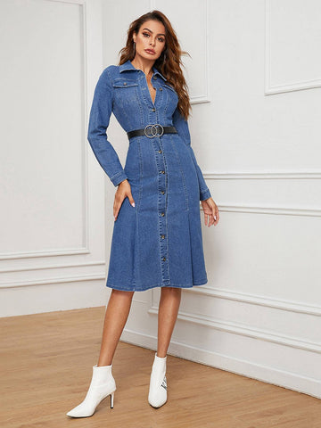 Blue High Waist Button Up Slim Fit Denim Dress