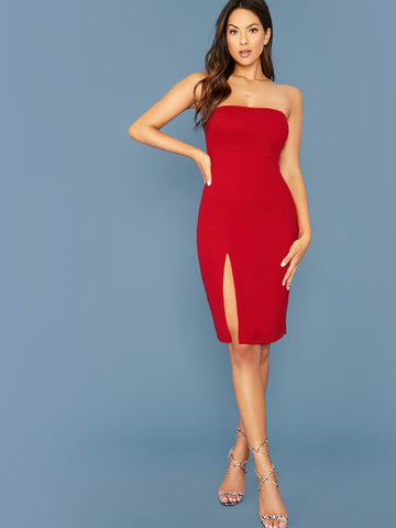 Bright Red Sleeveless Strapless Zipper Detail Split Front Tube Dress