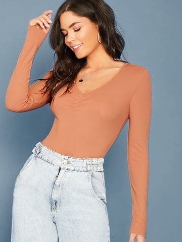 Pastel Orange V-Neck Ruched Detail Rib-knit Fitted Tee Top