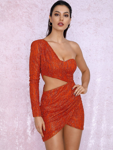 Bright Orange High Waist One Shoulder Cut-out Sequin Bodycon Slim Fit Dress