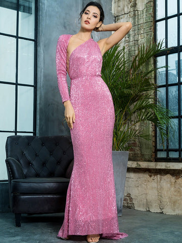 Bright Pink Asymmetrical Neck Backless One Shoulder Sequin Prom Dress