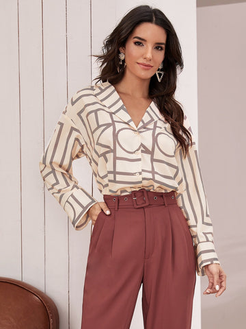Pastel Beige Notch Collar Pleated Back Geo Shirt
