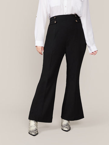 Black Plus Solid Buttoned Detail Flare Leg Pants
