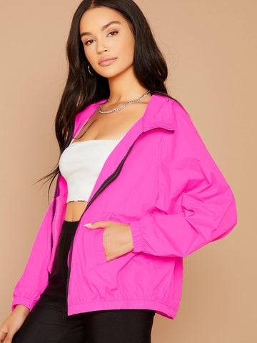Bright Pink Zip Front Double Pockets Neon Windbreaker Hooded Jacket