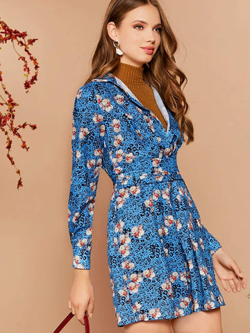 Bright Blue High Waist Floral Print Self Belted Dress