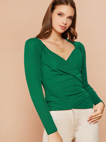Bright Green Knot Neck Ruched Wrap Slim Fit Top