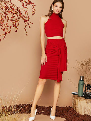 Bright Red High Neck Sleeveless Slim fit Top & Self Tie Pencil Skirt Set